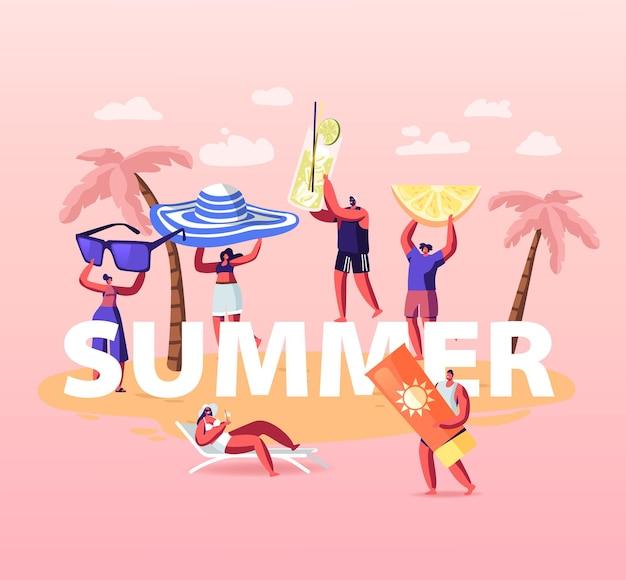 夏時間シーズンのコンセプト。夏の休暇を楽しんでいる人々、ビーチでリラックスしている人々。漫画イラスト