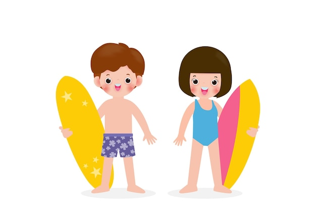 Summer time and set of cute surfer asian children character with surfboard on beach