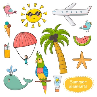 Summer time set. vacation theme elements.
