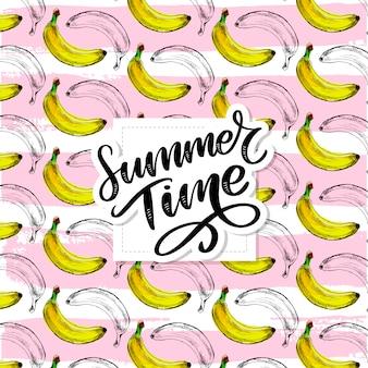 Summer time slogan lettering, seamless banana pattern