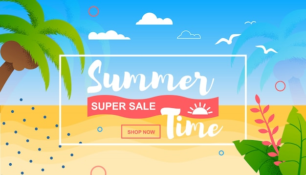 Summer time and super sales flat tropical banner