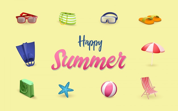 Summer time symbols set