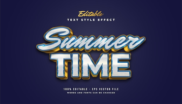 Summer time text in blue and gold with vintage style and embossed effect Premium Vector