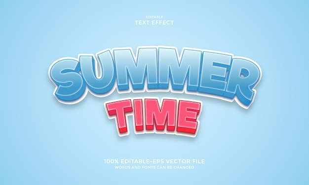 Summer time text effect cartoon style