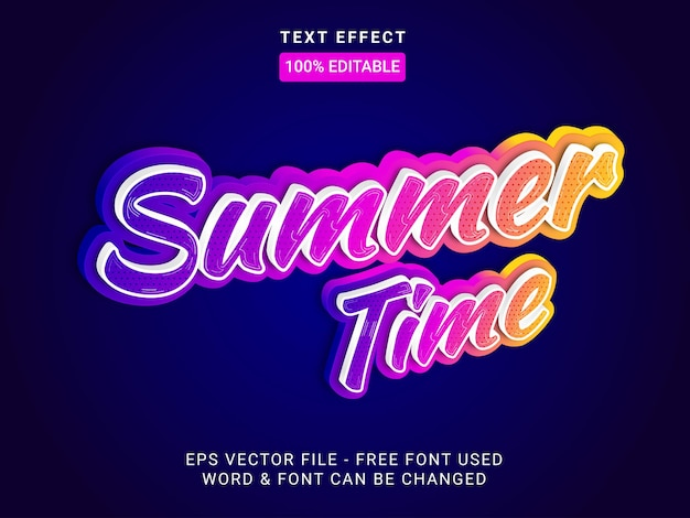 Summer time text effect style editable text effect