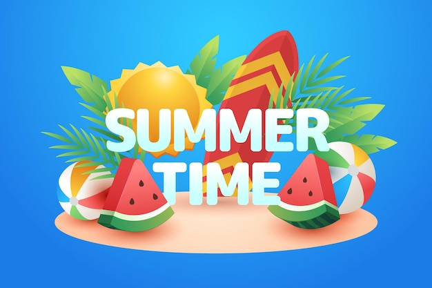Summer time text on illustrated beach