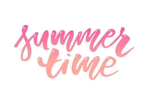 Summer time text lettering calligraphy letters black