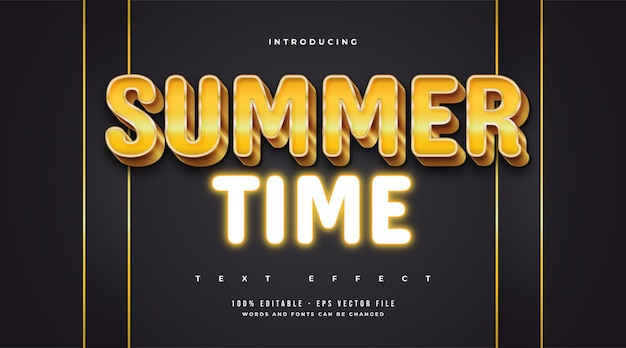 Summer time text in luxury gold style and glowing neon effect. editable text style effect