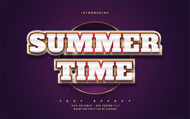 Summer time text in white and gold with 3d embossed effect. editable text style effects