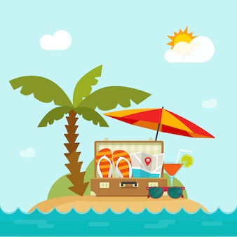 Summer time trip in resort island beach with travel things vector illustration