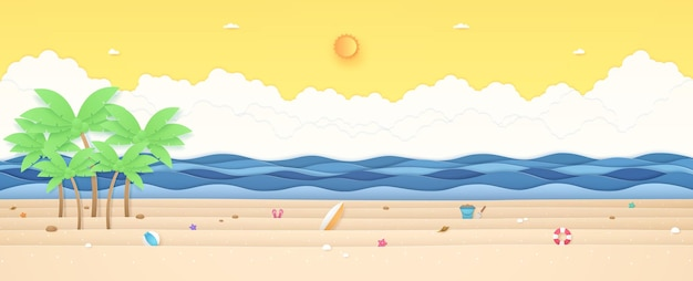 Summer time tropical landscape coconut trees and summer stuff on beach with wavy sea sunny sky