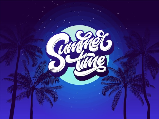 Summer time typography background with palm tree and night sky and moon