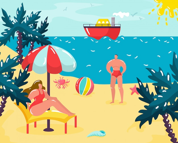 Summer time vacation at beach,   illustration. exotic resort leisure, season tourism together. couple character at coast