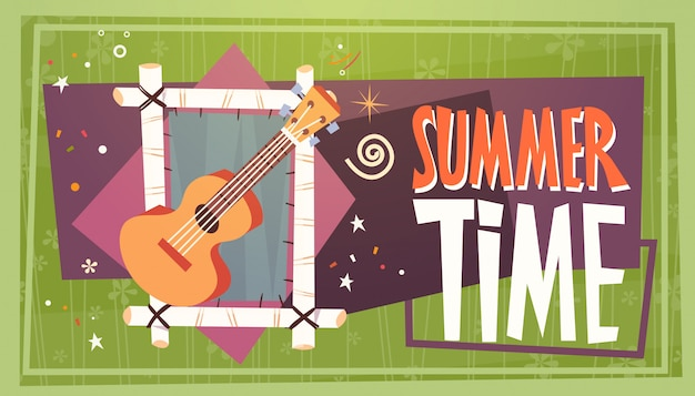 Summer time vacation camping travel retro banner holiday