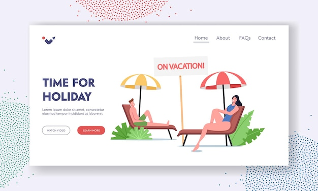 Summer time vacation landing page template. people lounging on chaise lounge under sun rays relaxing on sea beach at tourist characters relax on seaside resort on holidays. cartoon vector illustration