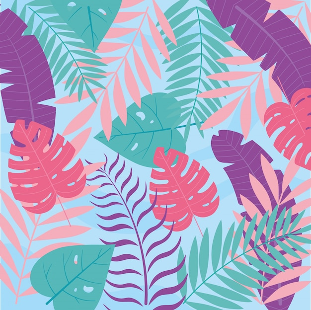 Summer time vacation monstera palm leaves foliage botanical background  illustration