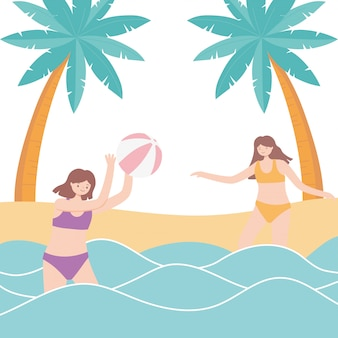 Summer time vacation tourism girls playing in sea with beach ball  illustration