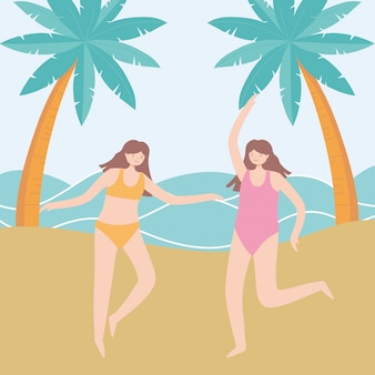 Summer time vacation tourism happy girls in the beach  illustration
