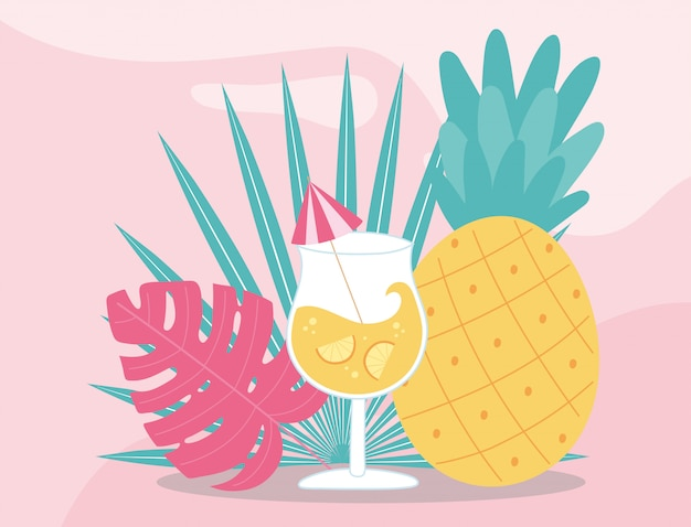 Summer time vacation tourism pineapple and cocktail with umbrella