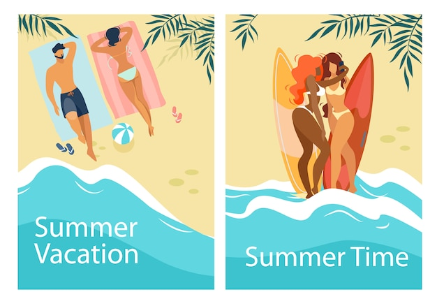 Summer time vacation vertical banners set with people relaxing on beach