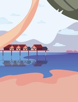 Летние каникулы плоской иллюстрации