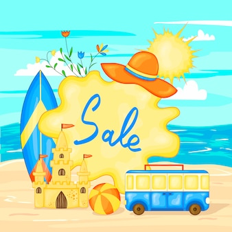 Summer time vector banner design colorful beach elements of sea and sand. vector illustration.