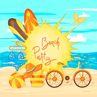 Summer time vector banner design and colorful beach elements of sea and sand. vector illustration.