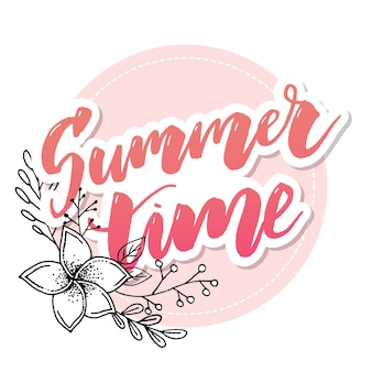 Summer time vector banner with flowers