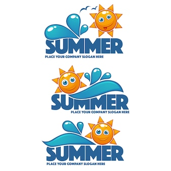 Summer time, vector collection of water and sun stickers banners and bubbles for your text
