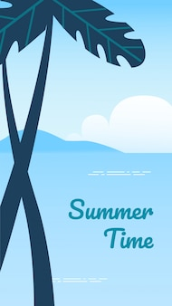 Summer time vertical banner, beach background