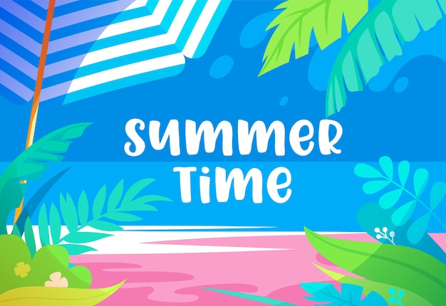 Summer time vibrant illustration with palm tree leaves, exotic tropical plants, sandy beach, sun umbrella and sea view