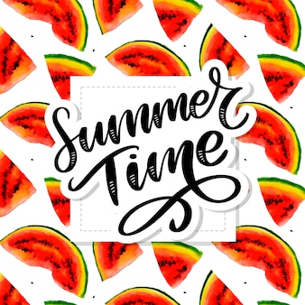 Summer time watermelon vector seamless watercolor pattern, juicy piece, summer composition of red slices of watermelon. handiwork.. for you designs.