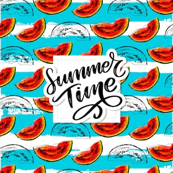 Summer time watermelon vector seamless watercolor pattern