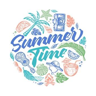 원 모양의 낙서 스타일 해변이 있는 여름 시간