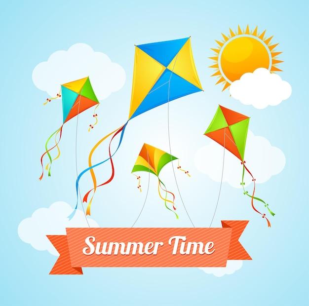 비행 연과 함께 여름 시간.