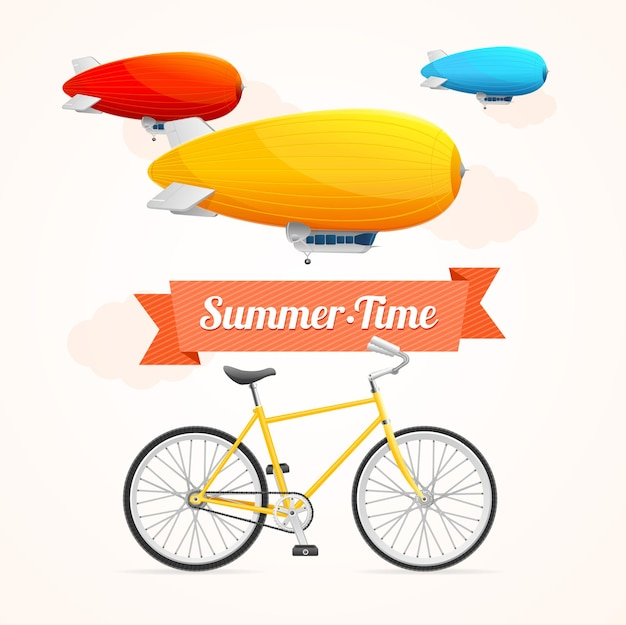 Summer time with dirigible and bike
