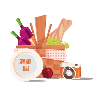 Summer time with picnic basket