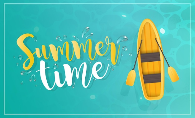 Summer time. yellow boat with oars. turquoise water surface in the ocean. view from above.