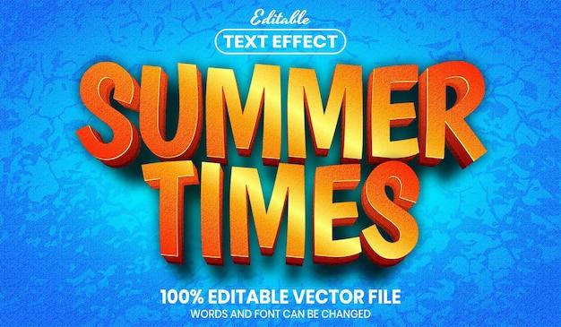 여름 시간 텍스트, 글꼴 스타일 편집 가능한 텍스트 효과
