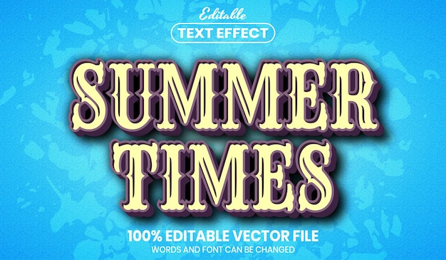 Summer times text, font style editable text effect