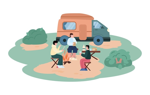 Summer tourism travel and adventure in camper car with trailer