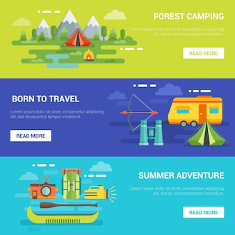 여름 관광 모험 가로 배너