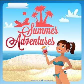 夏の観光客の女の子ベクトル図