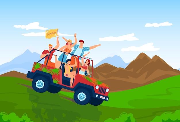 Летнее путешествие на машине люди друзья катаются на внедорожнике векторные иллюстрации счастливый молодой мужчина женщина персонаж на туристическом транспортном средстве в горной природе