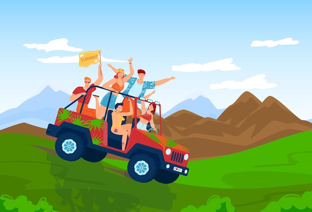 Summer travel by car people friends ride suv vector illustration happy young man woman character at tourism journey vehicle at mountain nature