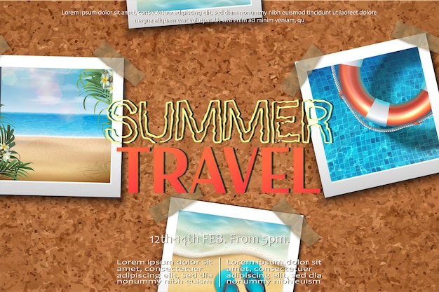 Summer travel concept with some picture frames around