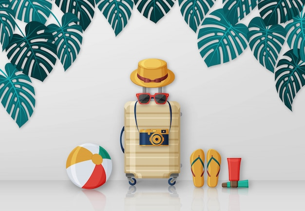 Summer travel concept with suitcase, sunglasses, hat, camera and beach ball on background with monstera leaves. illustration