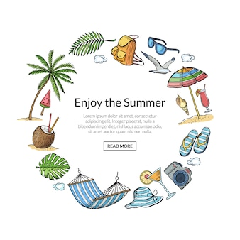 Summer travel elements frame with text template