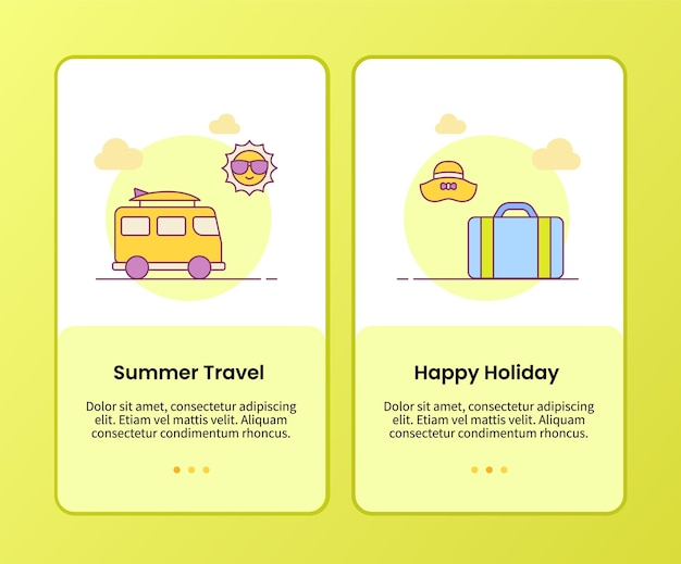 Summer travel happy holiday campaign for onboarding mobile apps application template