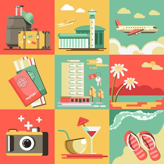 Summer travel or holiday vacation vector ocean beach.
